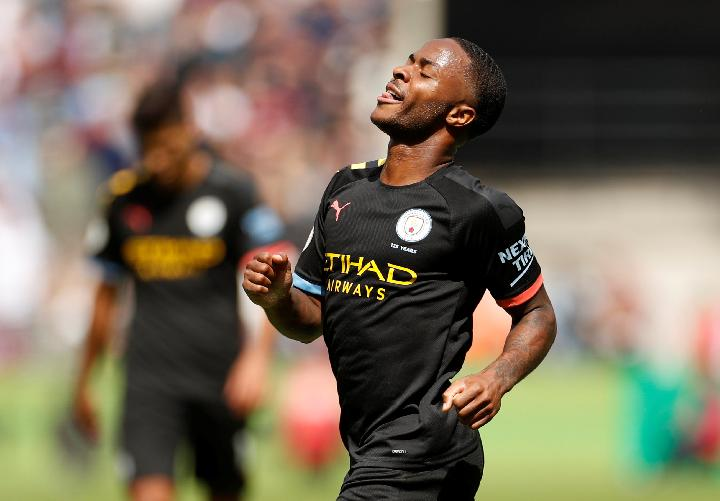 Pemain Manchester City Raheem Sterling. Reuters/John Sibley