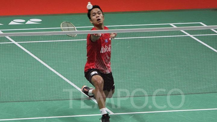 Pemain unggal putra Indonesia Anthony Sinisuka Ginting. Tempo/Amston Probel