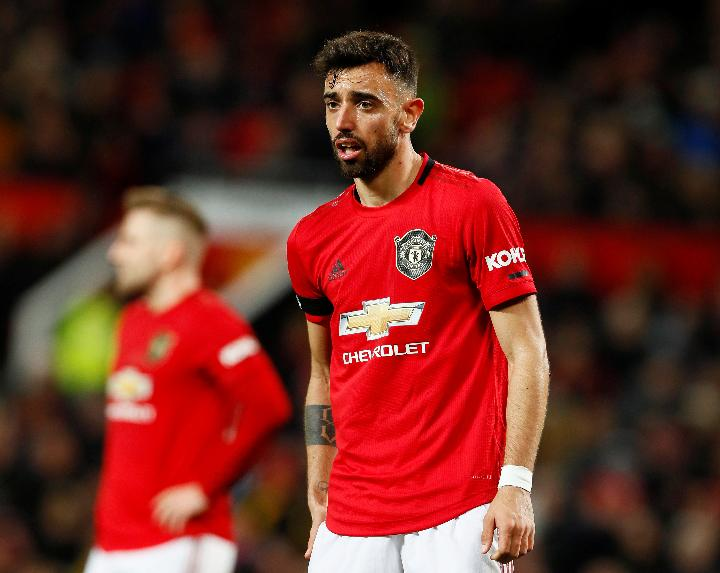 Pemain Manchester United, Bruno Fernandes. Reuters