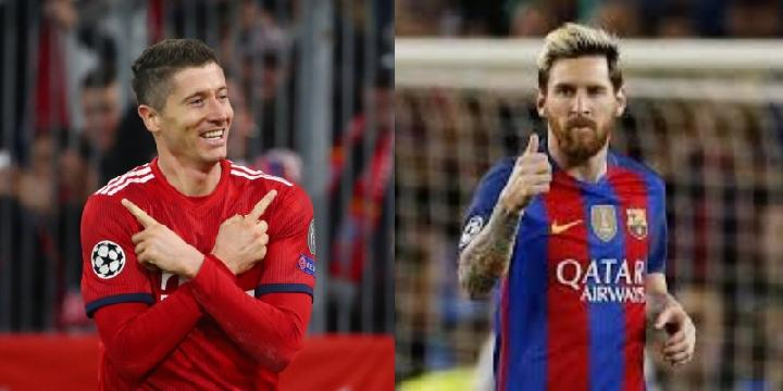 Robert Lewandowski dan Lionel Messi. Reuters