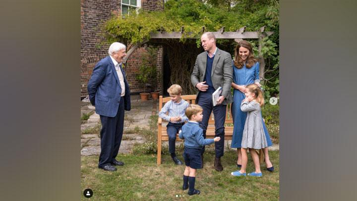 Kate Middleton, Pangeran William dan ketiga anaknya saat bertemu Sir David Attenborough. Instagram.com/@kensingtonroyal
